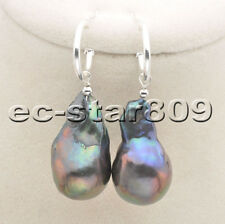 P6521 29mm BAROQUE Drop Black KESHI Reborn Pearl Dangle Earring Sterling Siver