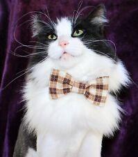 New Cat Red Brown Plaid Bow Tie & Breakaway Velvet Soft Collar | Cat Bowtie