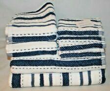Kassa Moda 8 Piece White & Navy Blue Stripes Bathroom Towel Set 100% Cotton New