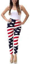 USA American flag, Stars and Stripes women patriotic leggings zip M/L