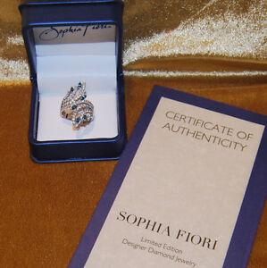 NEW! Sophia Fiori Blue & White Diamond 14k White Gold Ring  SZ 9  REDUCED!!