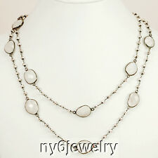 Natural White Moon stone Gunmetal Chain Long Necklace 35""