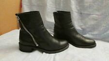 Women's FRYE Black Leather Zip Ankle Boots Size 7 1/2
