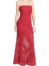 Jump Apparel Nordstrom Red Striped Evening Gown Dress Size 2 XS (MSRP $150)
