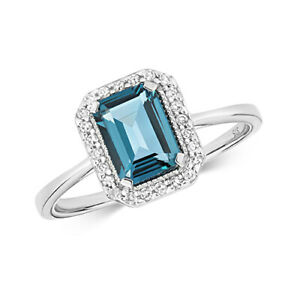 9ct White Gold Diamond and Emerald Style Centre Set London Blue Topaz Ring
