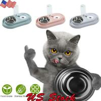 Automatic Pet Food Drink Water Dispenser Cat Dog Feeder Water Double Bowl Dish