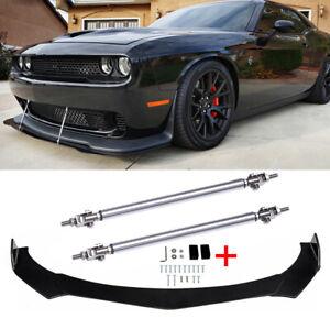 Fits 15-21 Dodge Challenger SRT Hellcat Front Bumper Lip Splitter + Strut Rods