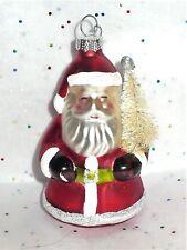 Christmas Glass Santa With White Bottle Brush Tree Ornament