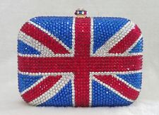 Blue~Red~Clear Crystal British Flag Clutch Evening Cocktail Purse Bag
