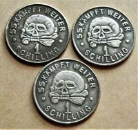 WW2 GERMAN SET OF 3 COLLECTORS COINS SS KANTINEGELD 1 SCHILLING 1938 - 1940