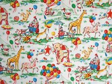 "1 yd 15"" VINTAGE-LOOK CIRCUS ANIMALS CLOWNS Childrens COTTON FABRIC Quilts Dress"