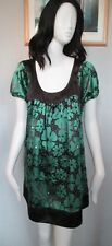 BRAVE SOUL - BLACK/GREEN BEACH/SUN MICRO MINI LENGTH DRESS  size 14 100% COTTON