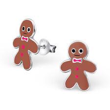 Girls Ladies Sterling Silver Gingerbread Man Christmas Stud Earrings 925 Boxed