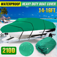 14-16FT Heavy Duty Boat Cover Trailerable Fishing Ski Bass Runabouts WaterProof