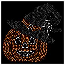 Halloween Pumpkin Hat Spider Web Cute Rhinestone Bling Transfer Hot Fix