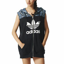 adidas Originals LA Hooded Dress Size 8 Black RRP £60 BNWT AB2616