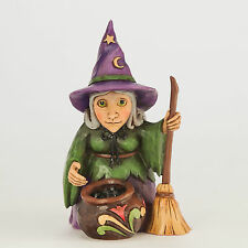 Jim Shore Miniature Halloween Witch w/Cauldron Figurine ~ 4047845