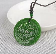 New China natural Green jade pendant Necklace Amulet Lucky Loong