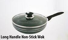 Manche long 32 cm Induction antiadhésif Compatible Wok poêle Sauce & couvercle en verre