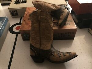 LAREDO BLACK/TAN/TAN W/LACED Perfect SW Leather Western Cowgirl Boots NEW 9.5 M