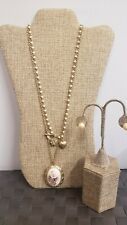 AWESOME DOUBLE STRAND LOCKET CHARM PENDANT NECKLACE & EARRINGS