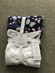 M&S SLEEP COLLECTION BUTTERFLY, RABBIT or SHELL PRINT PURE COTTON PYJAMA SETS