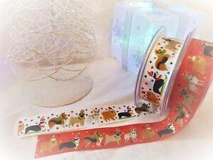 Berisfords FESTIVE PETS Christmas Dog Pup Dogs - 25mm ribbon - various lengths