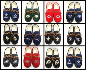 Men's NFL Team Color Big Logo Moccasin Slippers House Shoes