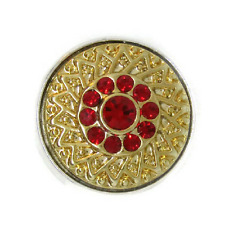 Noosa Chunks Ginger Style Snap Button Charms Gold Weave Red Rhinestones 20mm NEW