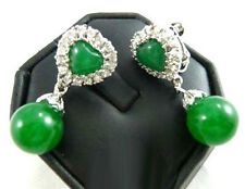 Emerald Green Jade White Gold Plated Crystal Love Heart Clip-on Earrings