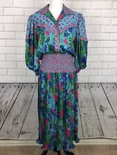 Vtg 80s Susan Freis Original Floral Polka Dot Bohemian Gypsy Dress M Smocked EUC