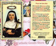 St. Rita with Prayer to Saint Rita on back - Laminated Holy Card