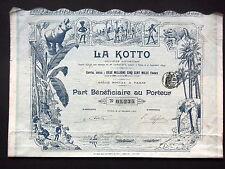 SOCIETE LA KOTTO - CONGO - PART BENEFICIAIRE 1907