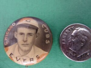 1910-12 JOHNNY EVERS Sweet Caporal celluloid PIN 3/4 inch - Chicago Cubs