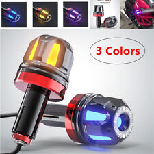 Pair 3Color Motorcycle Handlebar Turn Signal Grip Bar End LED Plug Hand Lighting