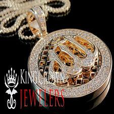 ARABIC ALLAH GOD CHARM PENDANT CHAIN NECKLACE SET ROSE GOLD FINISH LAB DIAMOND