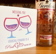 Personalised Isolation Card Thinking Of You Card Missing You Card Pink Gin Card