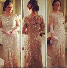 Long Sleeve Champagne Pageant Gowns Lace Beads Evening Dress Custom