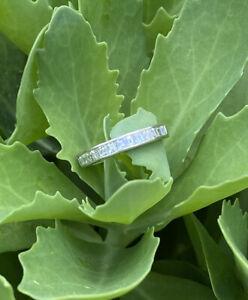 18k White Gold Emerald/Carre Cut Diamond Eternity Band VS .63 Appraisal $2115