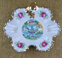 Novelty Washington DC Candy Dish Ceramic Vintage Made in Japan Roses Gold Rim
