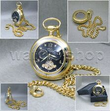 Mechanical Tourbillon Pocket Watch Gold Men Brass Sun Moon on Chain and Box P114
