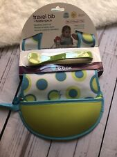 B.box Travel Bib And Spoon Baby Unisex Polkadot Green Blue
