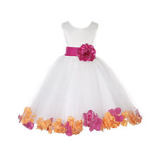 CUSTOMIZE INFANT TODDLER TEEN BRIDAL PARTY IVORY ROSE PETAL FLOWER GIRL DRESS