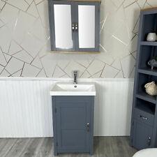 Slimline Bathroom Cabinet Vanity Unit | Solid Oak Furniture | Inset Sink Tap Set