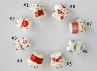10Pcs Cat Pattern Desgin Ceramic Porcelain Loose Spacer Beads Charms 12x14mm