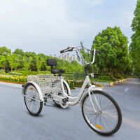 "White 3-Wheels Trike 24"" Adult Tricycle 6-Speed Men's/women's Bicycle 300lbs"