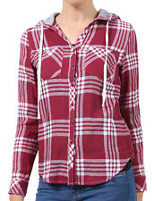 NE PEOPLE Women's Long Sleeve Plaid Check Button Down Shirt with Hood NEWT153
