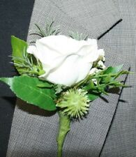 Rustic White Flower Boutonniere, Wedding Accessories, Prom