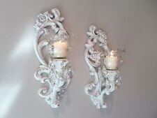 pair vintage upcycled homco ornate candle sconces shabby french country chic