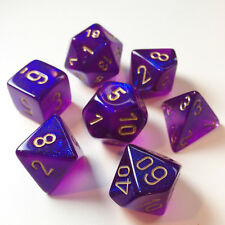 Chessex Dice Poly - Borealis Royal Purple w/ Gold - Set Of 7- 27467 - Free Bag